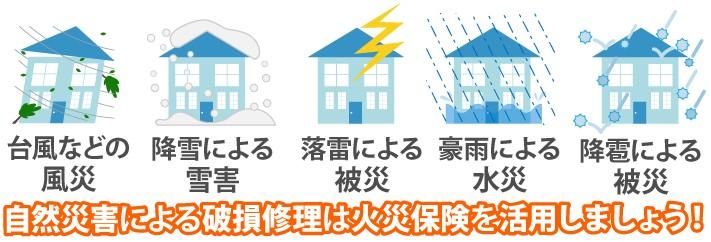 自然災害による破損修理は火災保険を活用しましょう!