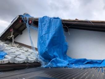 屋根のブルーシートが7飛びそう