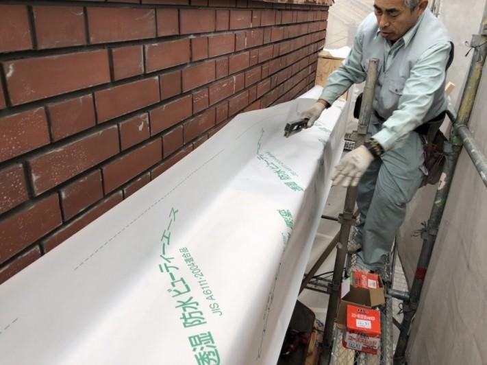 八尾市 防水紙施工