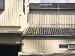 屋根にキズ