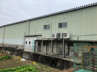 倉庫の壁にはしご