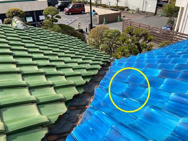屋根瓦から雨漏り