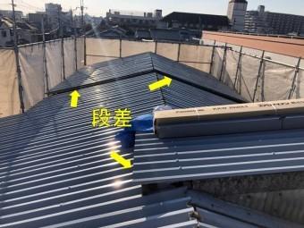 工場の屋根施工中