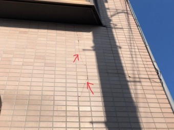 正面タイル部分の外壁
