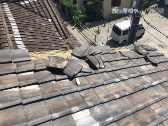 瓦ずれ屋根からの写真