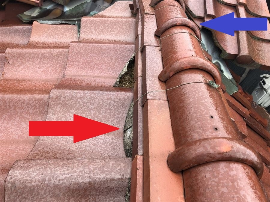 八尾市 漆喰の劣化で棟瓦がずれた