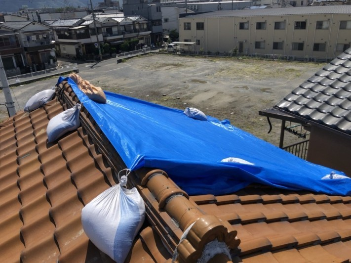 八尾市 台風後の応急処置