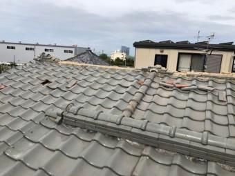 八尾市 瓦が台風で飛んだ