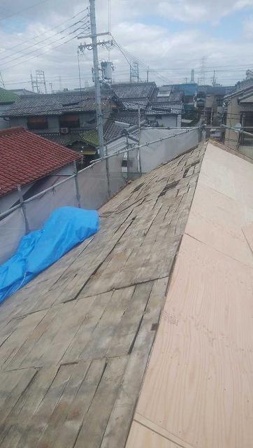 屋根撤去下地
