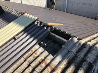 ガルバリウム鋼板を張り付け中