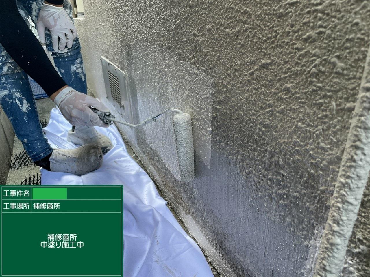外壁補修中塗り