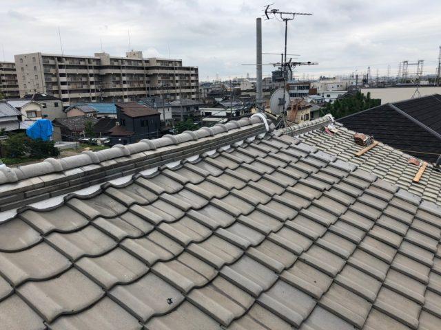 八尾市で台風対策として瓦屋根の工事をおこないました