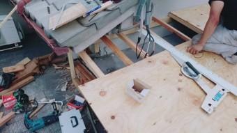 屋根下地工事中