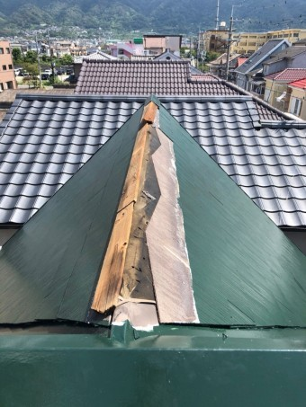 八尾市 スレート屋根 棟