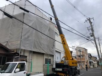 屋根材料運搬