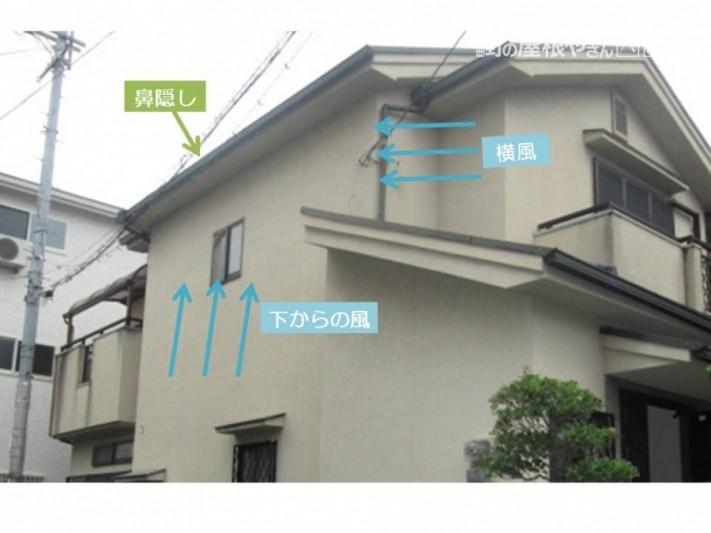 破風と場所も役割も似ている鼻隠しですが、雨樋の下地の役割を担っています。