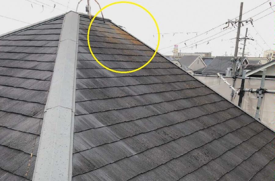 スレート屋根にカビ